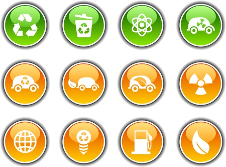 Ecology  button set. Vector illustration. Stock Vector - 5952841