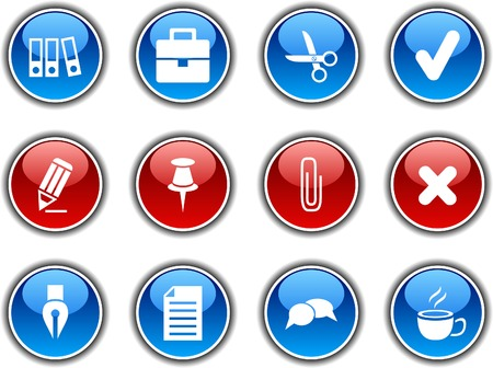 Office  button set. Vector illustration. Stock Vector - 5952836