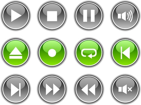 Player  button set. Vector illustration.  Stock Vector - 5952797