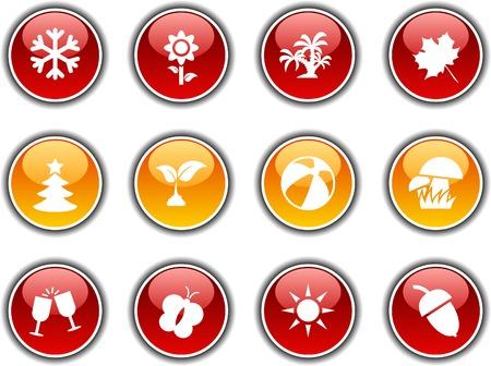 Seasons  button set. Vector illustration.  Stock Vector - 5952843