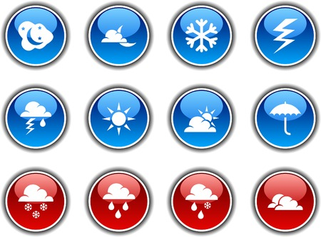 Weather  button set. Vector illustration. Stock Vector - 5952844