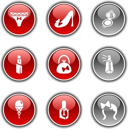 mirrow: Women  button set. Vector illustration.