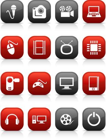 Multimedia  button set. Vector illustration. Stock Vector - 5997137