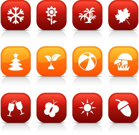 Seasons  button set. Vector illustration.  Stock Vector - 5997145
