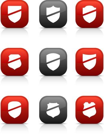 Shield button set. Vector illustration. Stock Vector - 5997126