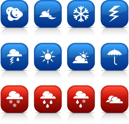 Weather  button set. Vector illustration. Stock Vector - 5997154