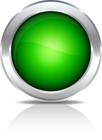 Green shiny button. Vector illustration.