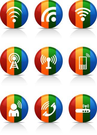 Communication  button set. Vector illustration. Stock Vector - 6040064