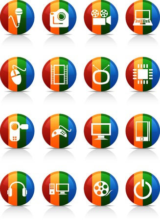 Multimedia  button set. Vector illustration.  Stock Vector - 6040074