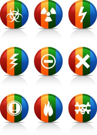 Warning button set. Vector illustration. Stock Vector - 6040067