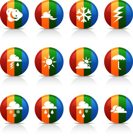 Weather  button set. Vector illustration.  Stock Vector - 6040084