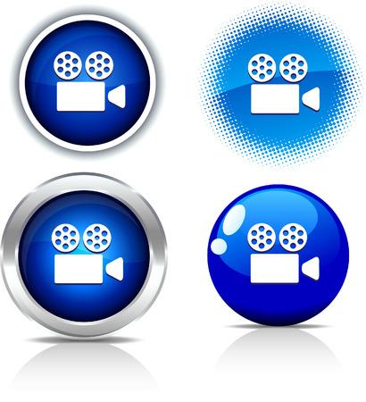 Cinema beautiful buttons. Vector illustration. Stock Vector - 6051751