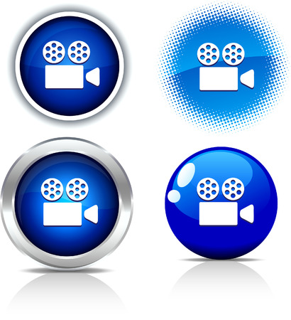 Cinema beautiful buttons. Vector illustration.  Stock Vector - 6051751