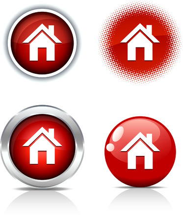 Botones hermosos hogar. Ilustración vectorial.