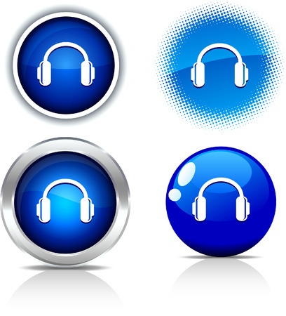 metall:   headphones beautiful buttons. Vector illustration.