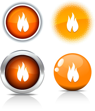 buttons vector:   Fire beautiful buttons. Vector illustration.