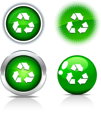 Recycle beautiful buttons. Vector illustration.  Stock Vector - 6056706