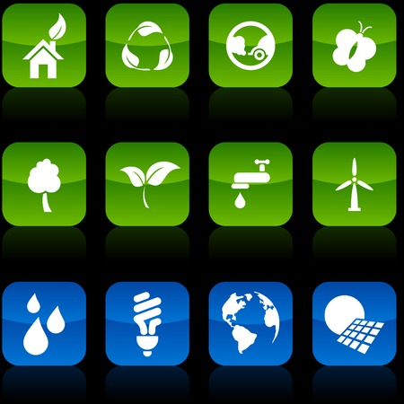 Ecology button set. Vector illustration. Vector