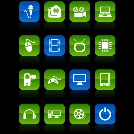 Multimedia  button set. Vector illustration.  Vector