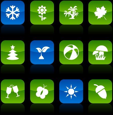 Seasons  button set. Vector illustration.  Vector