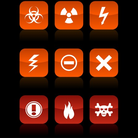 Warning  button set. Vector illustration.  Vector