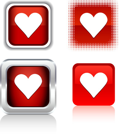 metall:  Love  square buttons. Vector illustration.