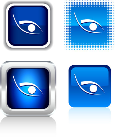 metall: Eye   square buttons. Vector illustration.