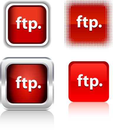 ftp: FTP   square buttons. Vector illustration.  Illustration