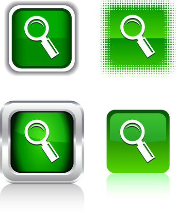 metall and glass:  Searching  square buttons. Vector illustration.  Illustration