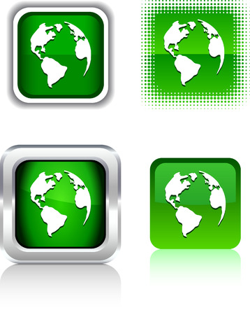 Planet  square buttons. Vector illustration.  Stock Vector - 6086028