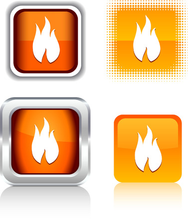Fire   square buttons. Vector illustration.  Vector