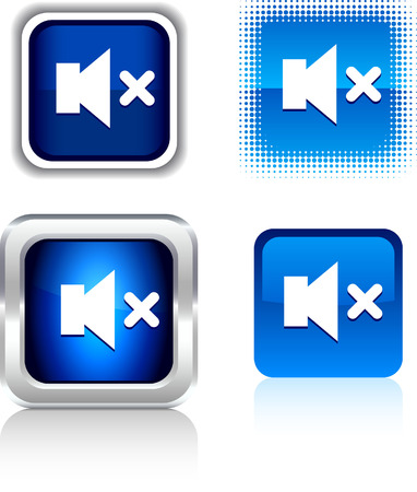 Mute  square buttons. Vector illustration. Stock Vector - 6094404