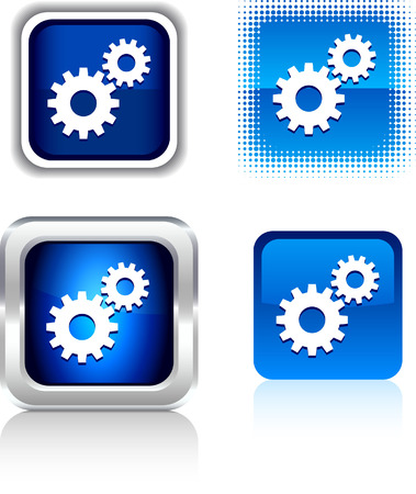 metall:  Settings  square buttons. Vector illustration.