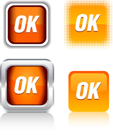 Ok   square buttons. Vector illustration. Stock Vector - 6094533