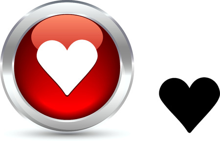 shiny hearts: Love   realistic button. Vector illustration.  Illustration