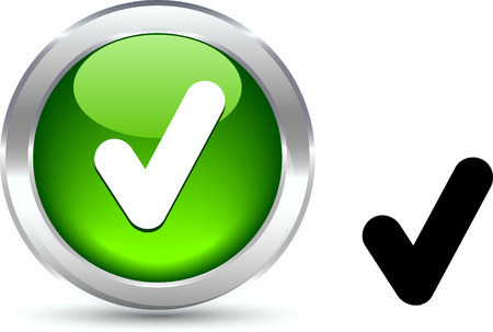 accepting:  Check  realistic button. Vector illustration.