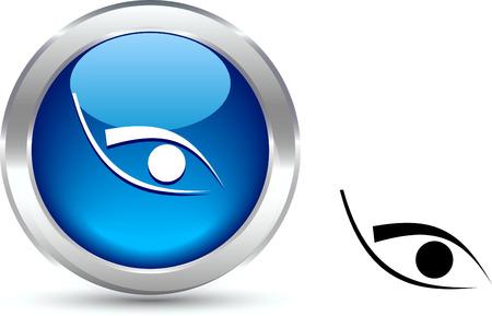 Eye realistic button. Vector illustration. Vektoros illusztráció