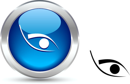 Eye  realistic button. Vector illustration.  Stock Vector - 6103953