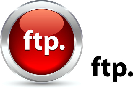 ftp:  FTP   realistic button. Vector illustration.