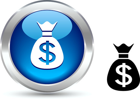 metall: Money   realistic button. Vector illustration.