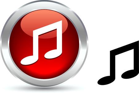 metall: Music  realistic button. Vector illustration.  Illustration