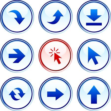 boton flecha: Conjunto de botones de flechas. Ilustraci�n vectorial.  Vectores