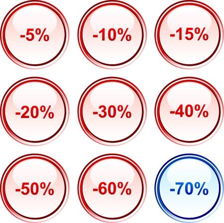 Discount button set. Vector illustration.  Vector