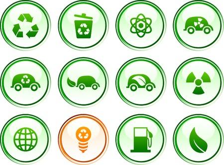 Ecology  button set. Vector illustration.  Illustration