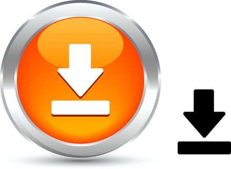 metall:  Download  realistic button. Vector illustration.