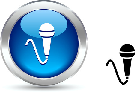 metall:  Mic  realistic button. Vector illustration.