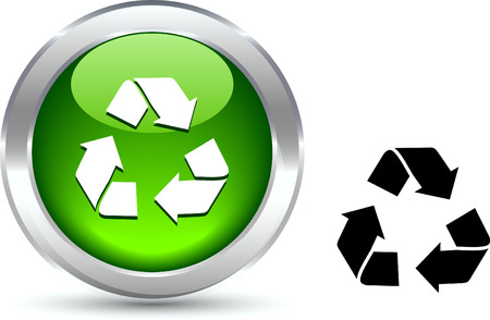 metall:   Recycle  realistic button. Vector illustration.  Illustration