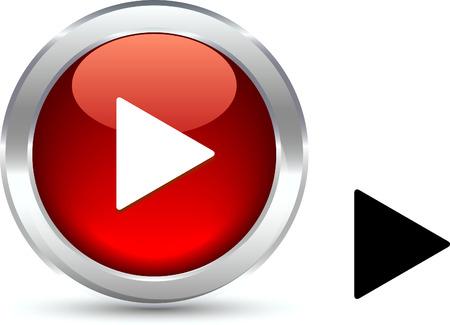 triangle button: Bot�n realista de reproducir. Ilustraci�n vectorial.