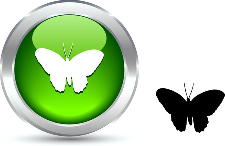 Butterfly  realistic button. Vector illustration.  Stock Vector - 6131090