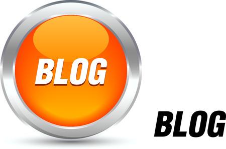metall:  Blog  realistic button. Vector illustration.